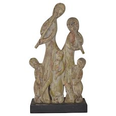 Carved Musical Family Folk Art Garden Sculpture