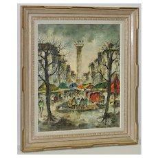 Blvd Richard-Lenoir, Paris Mid Century Oil Painting c.1950s