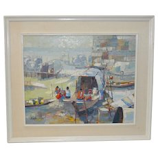 Mid Century Modern Indonesian Boat Village Impasto Palette Knife Oil Painting c.1950