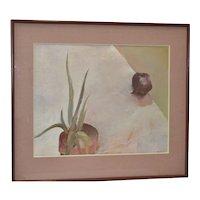 """Carol Fremlin """"Aloe & Red Onion"""" Still Life Oil Painting c.1980's"""
