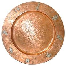 Mid Century Copper Platter w/ Sterling Figures c.1950s