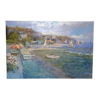 New England Coastal Landscape with Sailboats Oil Painting by Ming