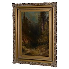 Early California Giant Sequoia Forest Landscape Oil Painting 19th Century