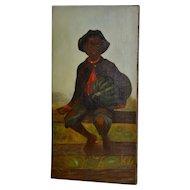 Charming 19th Century African American Folk Art Painting