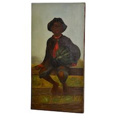Charming 19th Century African American Folk Art Painting