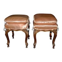 Pair of Itlaian Hand Carved and Silk Upholstered Benches c.1950s