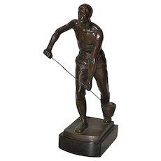 "Early 20th Century Bronze Sculpture, ""Foundry Worker"" by Gerhard Janensch c.1918"