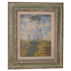 Woman with a Parasol - Madame Monet and Her Son Oil Painting c.1978