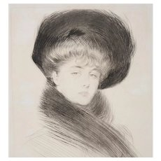 Paul Helleu (French, 1859-1927) Drypoint Etching of an Elegant Woman c.1900