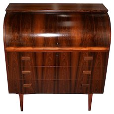 Danish Mid Century Modern Rosewood Cylinder Desk c.1960s Made in Sweden by Ostergaard
