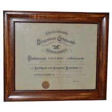 Century Old Framed Business College of Santa Cruz Dipoloma c.1904