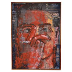 "Aaron Fink (American, b.1955) ""Red Smoker"" Original Oil Painting c.1986"
