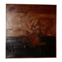 Vintage Mid Modern Abstract Oil Painting c.1970