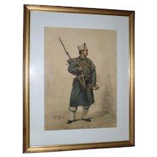 Watercolor Portrait of a Cossack Soldier by Garcia Mesa, Paris 1888