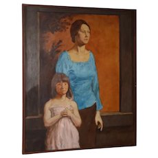 Vintage Oil Portrait of a Young Mother and Daughter c.1979