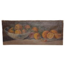 19th Century American Still Life Oil Painting w/ Oranges