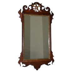 19th Century Hand Carved Mirror w/ Mythical Phoenix Crest