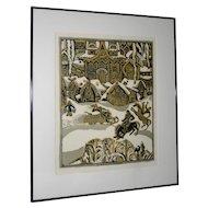 "Vintage ""Russian Village Winter""  Woodblock Print"