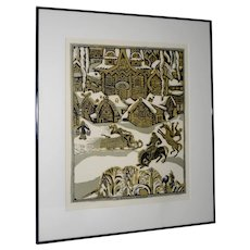 "Vintage ""Russian Village Winter""  Woodblock Print"