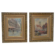 Piet Van Beek (Dutch, 20th c.) Pair of European Street Scene Oil Paintings c.1950s