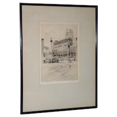 San Francisco Union Square Etching by Ray Payne c.1930s