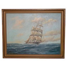 George Wheatley (American, b.1895) Sailing Ship Oil Painting