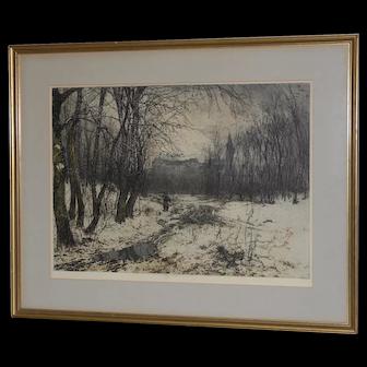 """Luigi Kasimir """"Klosterneuburg"""" Original Pencil Signed Color Etching c.1938"""