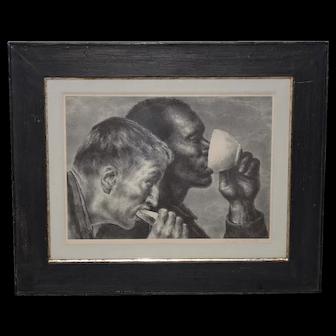 "Joseph Hirsch (American, 1910-1981) ""Banquet"" Original Pencil Signed Lithograph c.1945"