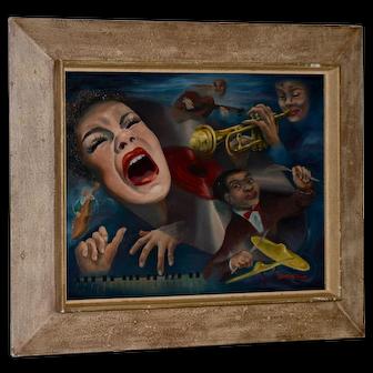 "Mid Century Modern ""Jazz Club"" Original Oil Painting by Sandra Thaw"