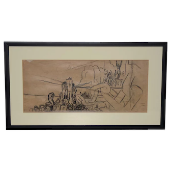 """Jean Carlu (French, 1900-1997) """"Breaking the Chains"""" Original Charcoal on Paper c.1920s"""