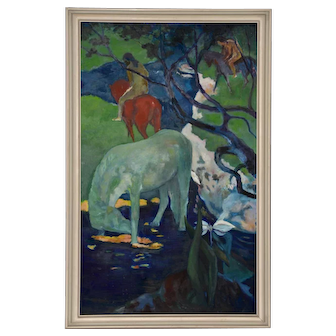 El Caballo Blanco (The White Horse) Vintage Oil Painting c.1970s