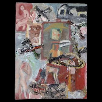 Arthur Krakower (1921-2009) Original Mixed Media w/ Oil c.1998