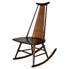 Arthur Umanoff for Raymor Mid Modern Walnut & Wicker Rocking Chair c.1960