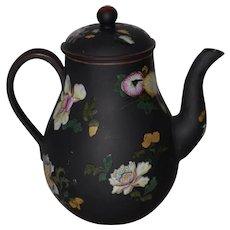 Wedgwood Black Basalt Teapot or Coffee Pot w/ Hand Painted Enameled Flowers