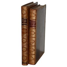 Pair of Early 19th Century Leather-Bound Books with Engravings by Rowlandson