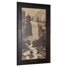 Carleton Watkins 19th Century Yosemite Vernal Fall & Mt Broderick Photograph c.1890s