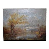 Autumn Pond Antique Oil Painting Attributed to A.D.M. Cooper c.1900