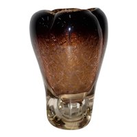 Beautiful Hand Blown Brown Glass Vase