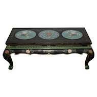 Vintage Black Lacquer & Turquoise Blue Cloisonne Chinese Coffee Table c.1940