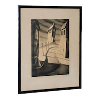 """Alfred Gray """"Silent Street"""" Signed Lithograph c.1930s"""