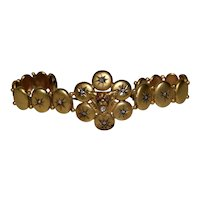 "Victorian ""Bobcat"" 14k Yellow Gold & Diamonds Bracelet c.1900"