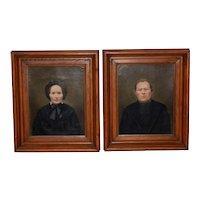 Mid 19th Century Amish Oil Portraits c.1850s