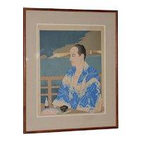 "Paul Jacoulet (French, 1902-1960) ""Le Phare de Mikimoto, Shimoda Izu"" Woodblock Print c.1954"