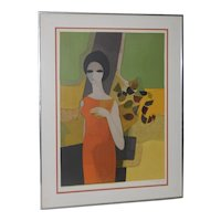 """Andre Minaux (French, 1923-1986) """"Grande Dame"""" Color Lithograph c.1960s"""