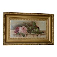 "American ""Roses and Bumblebees"" Oil Painting c.1900"