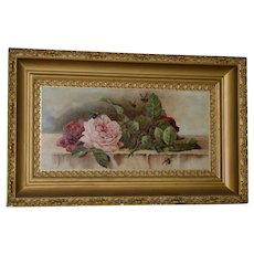 """American """"Roses and Bumblebees"""" Oil Painting c.1900"""