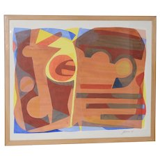 "Katherine Barieau (1917-2010) ""Child's Room"" Abstract Watercolor c.1967"