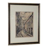 """Joseph MARGULIES (1896-1984) """"The Oldest Rue in Paris"""" Etching w/ Aquatinit c.1930s"""