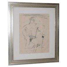 Larry Rivers (1923-2002) Modernist Male Figure Original Charcoal Mid 20th C.