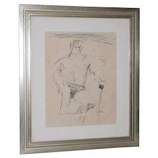 Larry Rivers (1923-2002) Modernist Male Figure Original Charcoal Mid 20th C.